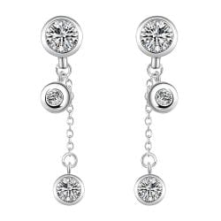 Vienna Jewelry Sterling Silver Crystal Stone Drop Drop Earring - Thumbnail 0