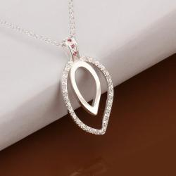 Vienna Jewelry Sterling Silver Duo Emblem Drop Necklace - Thumbnail 0