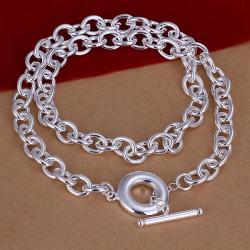 Vienna Jewelry Sterling Silver Clasp Closure Interlock Necklace - Thumbnail 0