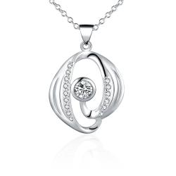 Vienna Jewelry Sterling Silver Abstract Curved Crystal Necklace - Thumbnail 0