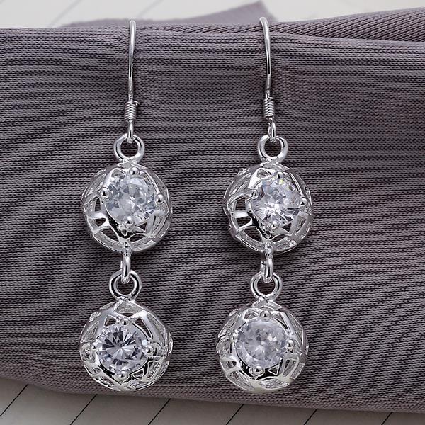Vienna Jewelry Sterling Silver Laser Cut Duo-Balls Drop Earring