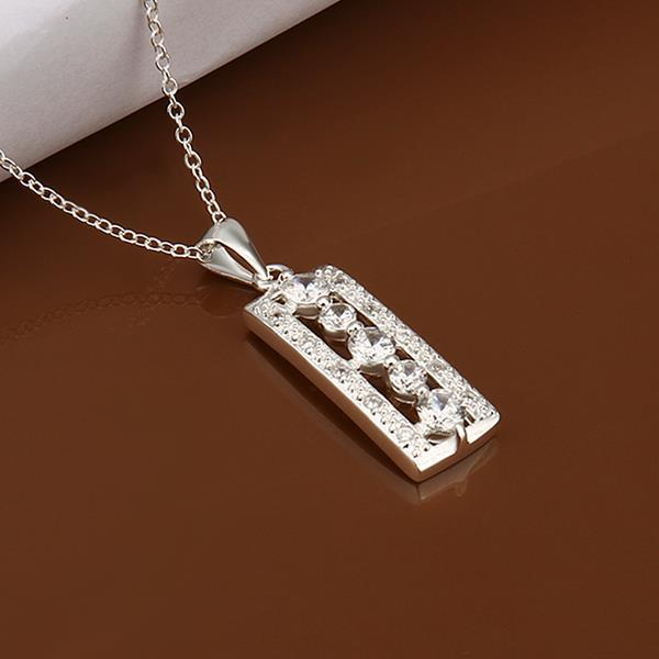 Vienna Jewelry Sterling Silver Lase Cut Vertical Rectangle Drop Necklace