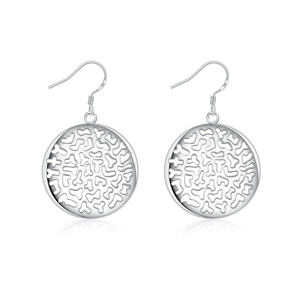 Vienna Jewelry Sterling Silver Laser Cut Circular Emblem Drop Earring
