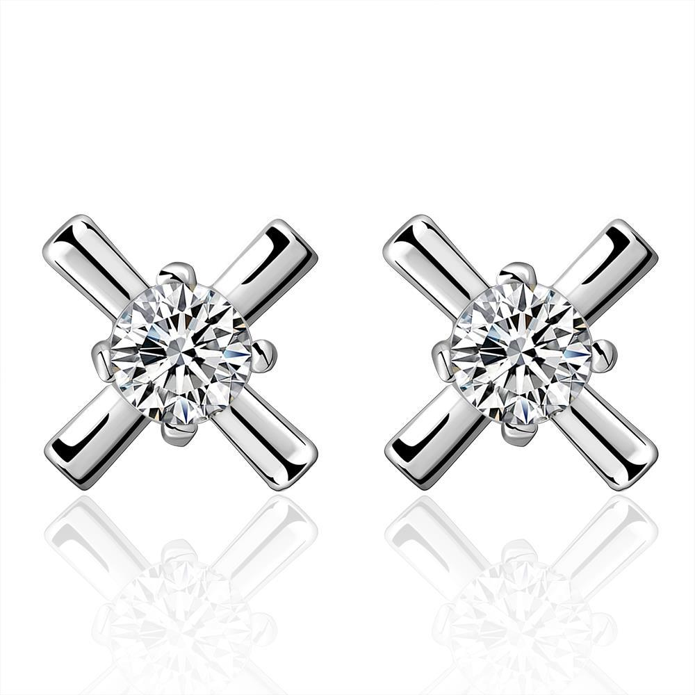 Vienna Jewelry Sterling Silver Crystal X Marks The Spot Earring