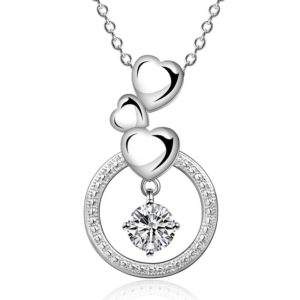 Vienna Jewelry Sterling Silver Trio-Heart Circular Pendant Necklace