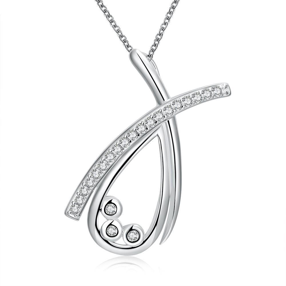 Vienna Jewelry Sterling Silver Curved Crystal Lining Necklace