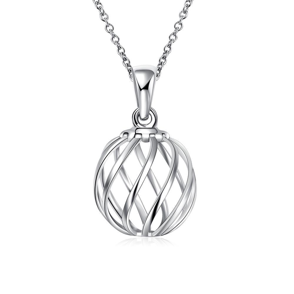 Vienna Jewelry Sterling Silver Laser Cut Ball Drop Necklace
