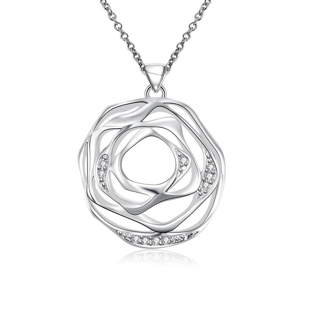 Vienna Jewelry Sterling Silver Laser Cut Floral Petal Pendant Necklace