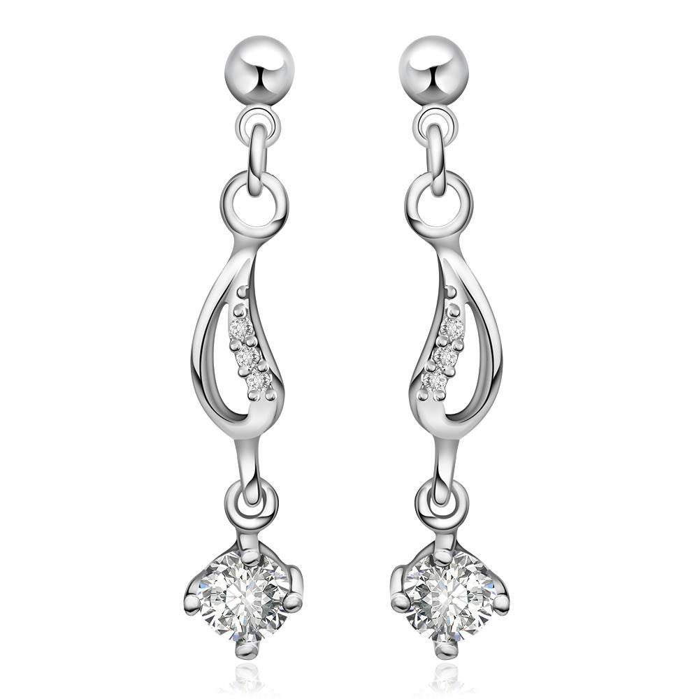 Vienna Jewelry Sterling Silver Crystal Gem Drop Drop Earring