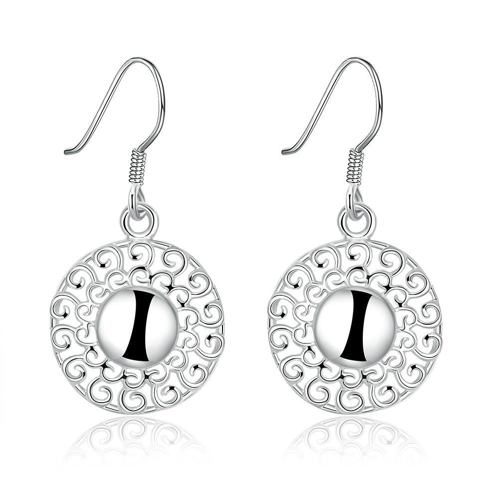 Vienna Jewelry Sterling Silver Laser Cut Bead Drop Earring
