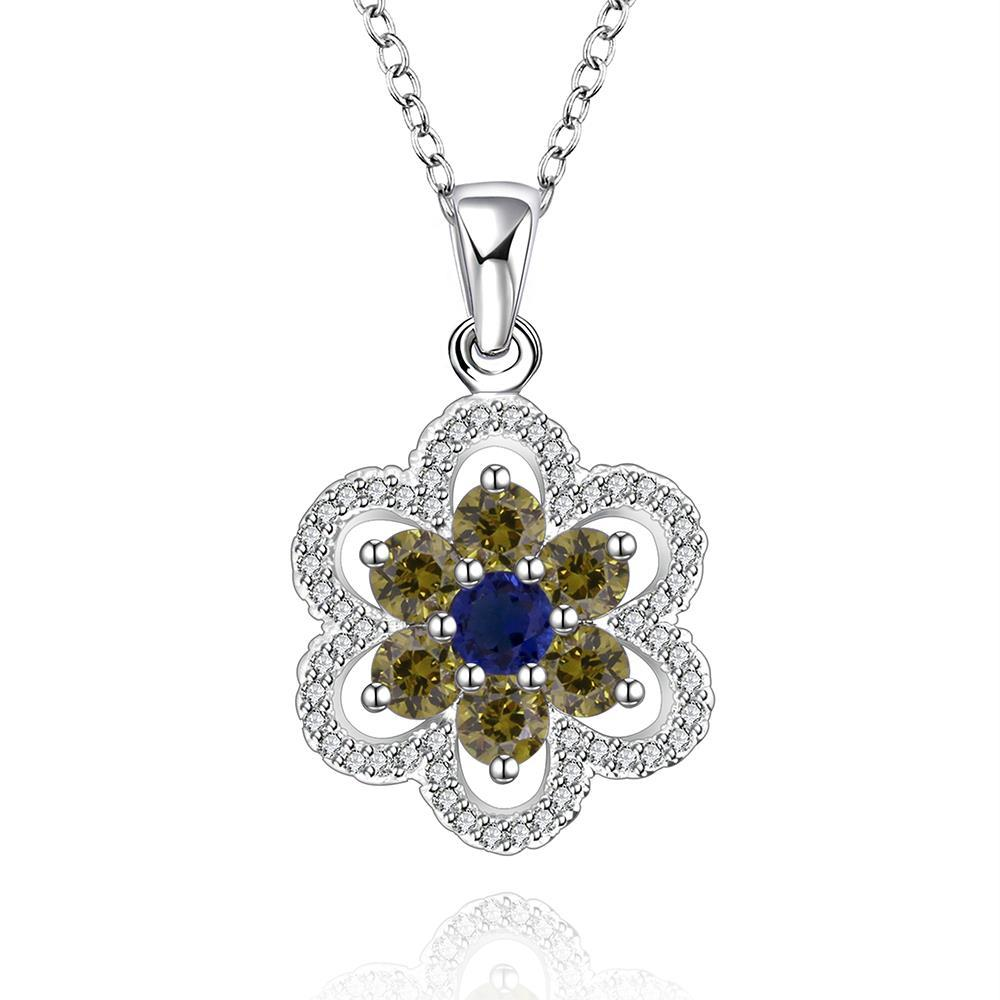 Vienna Jewelry Sterling Silver Emerald Citrine Clover Shaped Drop Necklace