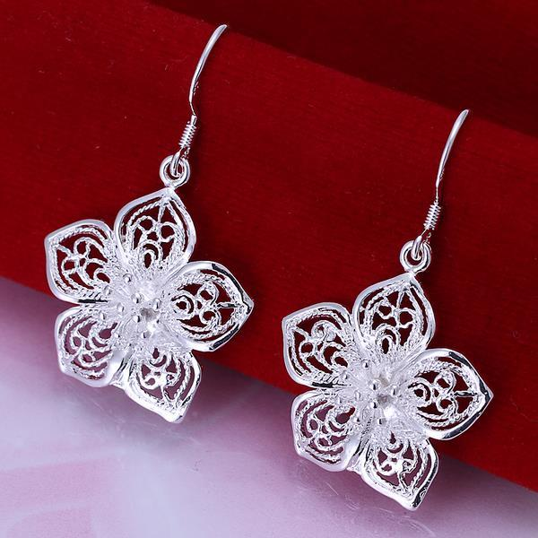 Vienna Jewelry Sterling Silver Drop Laser Cut Floral Earring