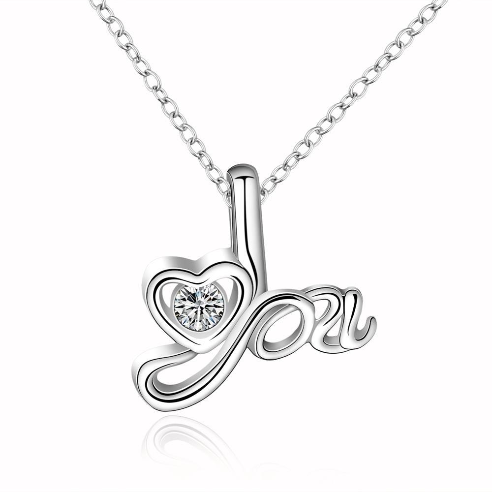 Vienna Jewelry Sterling Silver I Love You Design Drop Necklace