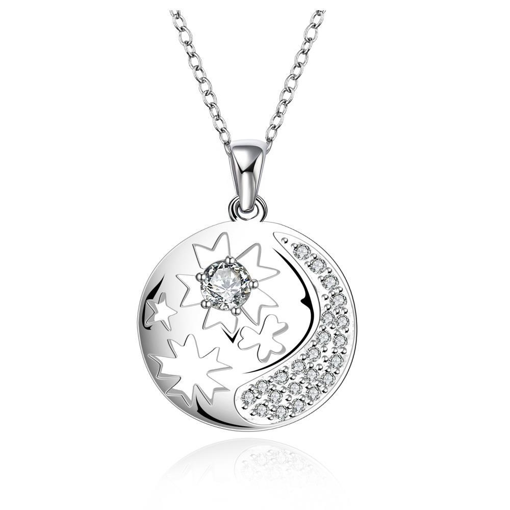 Vienna Jewelry Sterling Silver Crescent Inspired Pendant Drop Necklace