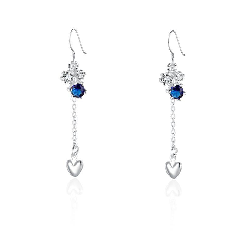 Vienna Jewelry Sterling Silver Floral Orchid Sapphire Drop Heart Earring