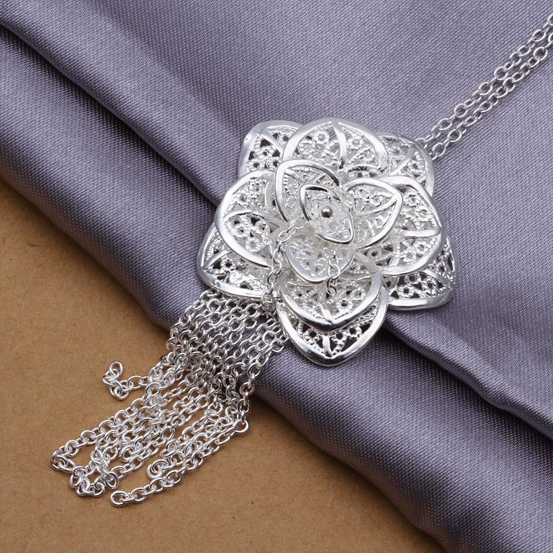 Vienna Jewelry Sterling Silver Large Floral Dangling Pendant