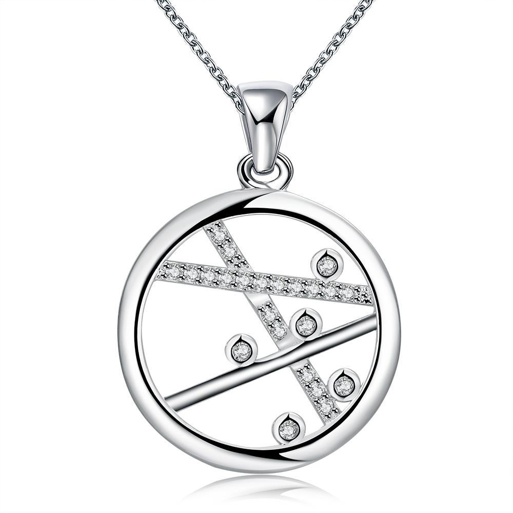 Vienna Jewelry Sterling Silver Lined Pendant Necklace