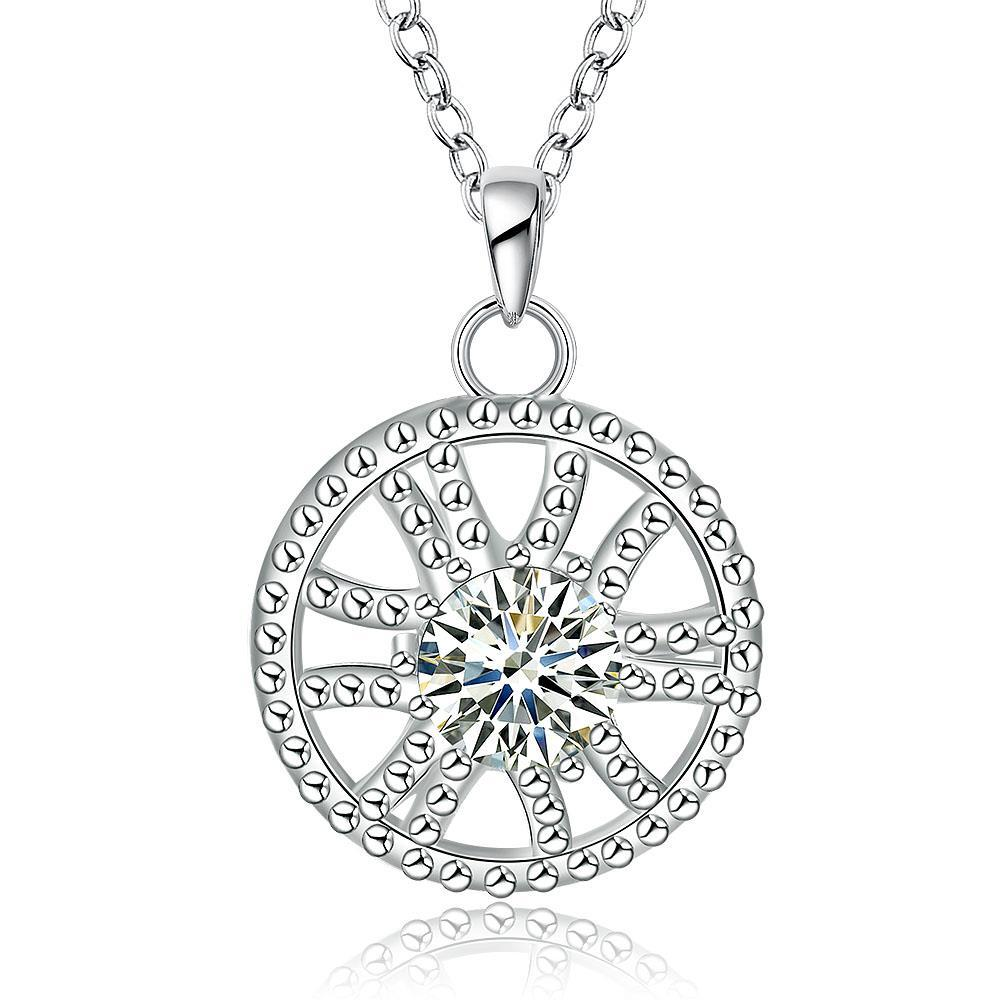 Vienna Jewelry Sterling Silver Circular Pendant Drop Necklace