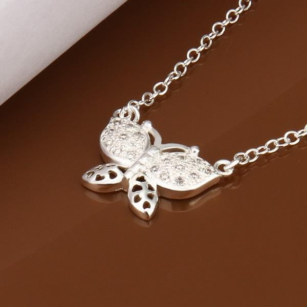 Vienna Jewelry Sterling Silver Petite Butterfly Emblem Necklace