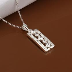 Vienna Jewelry Sterling Silver Lase Cut Vertical Rectangle Drop Necklace - Thumbnail 0