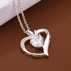 Vienna Jewelry Sterling Silver Curved Heart Crystal Drop Necklace - Thumbnail 0