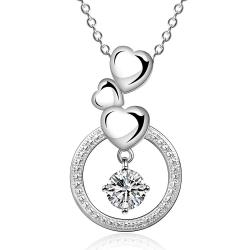 Vienna Jewelry Sterling Silver Trio-Heart Circular Pendant Necklace - Thumbnail 0