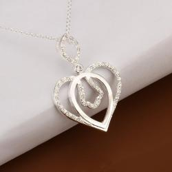 Vienna Jewelry Sterling Silver Laser Cut Heart Shaped Necklace - Thumbnail 0