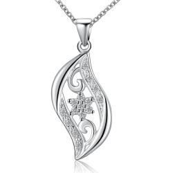Vienna Jewelry Sterling Silver Laser Cut Curved Emblem Necklace - Thumbnail 0