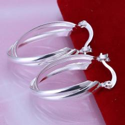 Vienna Jewelry Sterling Silver Bent Lining Hoops - Thumbnail 0