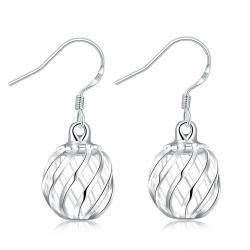 Vienna Jewelry Sterling Silver Laser Cut Ball Drop Earring - Thumbnail 0