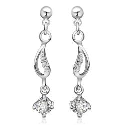 Vienna Jewelry Sterling Silver Crystal Gem Drop Drop Earring - Thumbnail 0