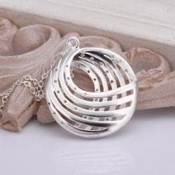Vienna Jewelry Sterling Silver Curved Pendant Drop Necklace - Thumbnail 0