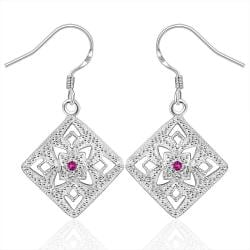 Vienna Jewelry Sterling Silver Laser Cut Diamond Shaped Earring - Thumbnail 0