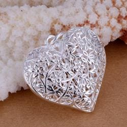 Vienna Jewelry Sterling Silver Filligree Heart Shaped Pendant - Thumbnail 0
