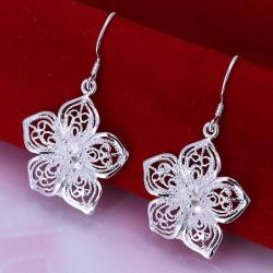 Vienna Jewelry Sterling Silver Drop Laser Cut Floral Earring - Thumbnail 0