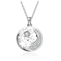 Vienna Jewelry Sterling Silver Crescent Inspired Pendant Drop Necklace - Thumbnail 0