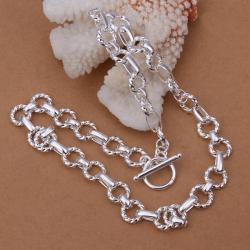 Vienna Jewelry Sterling Silver Modern Sleek Interlocked Chain Necklace - Thumbnail 0