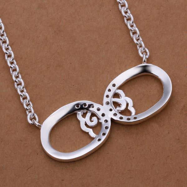 Vienna Jewelry Sterling Silver Duo Emblem Curved Lining Dop Necklace
