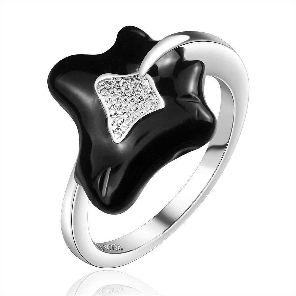 Vienna Jewelry Sterling Silver Onyx Leaf Branch Curved Ring Size: 7