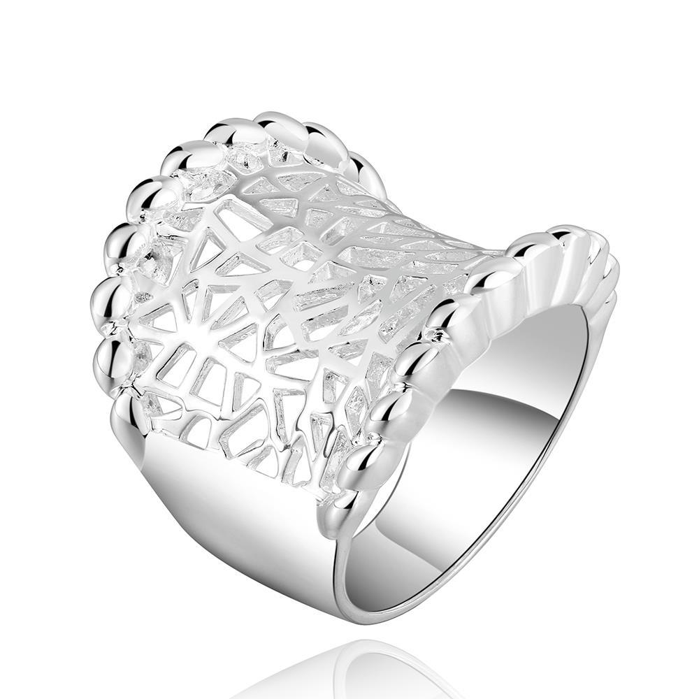 Vienna Jewelry Sterling Silver Laser Cut Fitted Ring Size: 7
