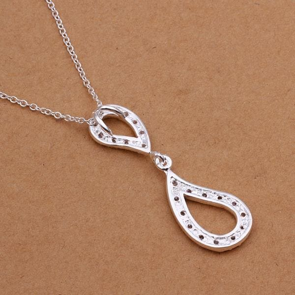 Vienna Jewelry Sterling Silver Duo-Spiral Emblem Drop Necklace
