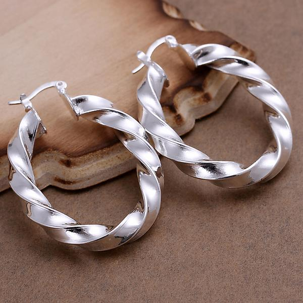 Vienna Jewelry Sterling Silver Bended Angular Hoops