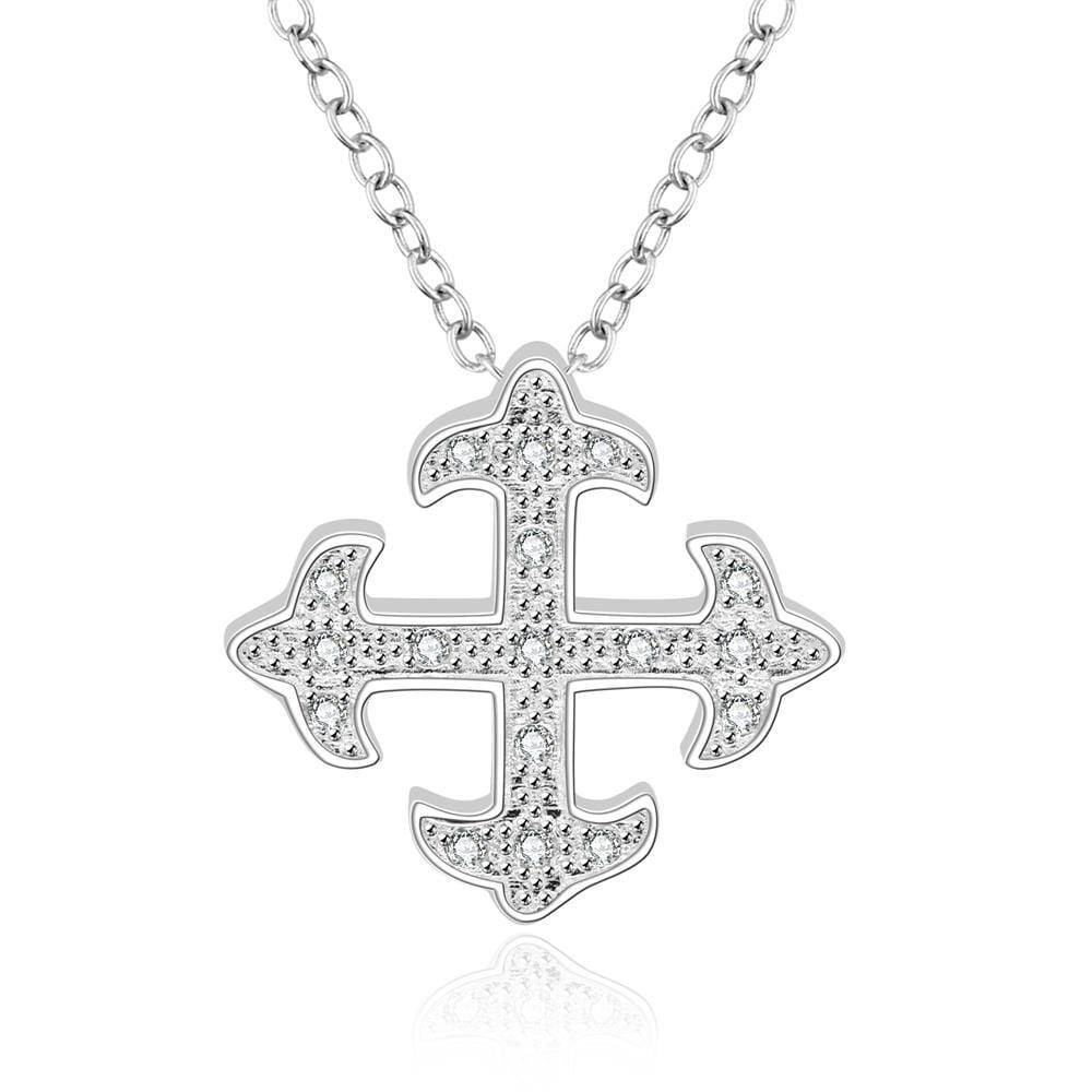 Vienna Jewelry Sterling Silver Crystal Filled Mid Cross Shape Drop Necklace