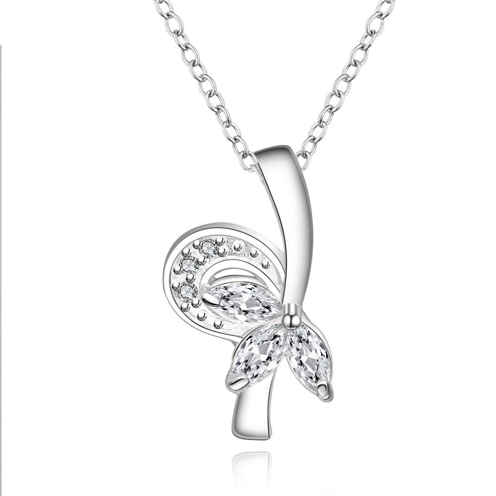 Vienna Jewelry Sterling Silver Curved Knot Pendant Drop Necklace