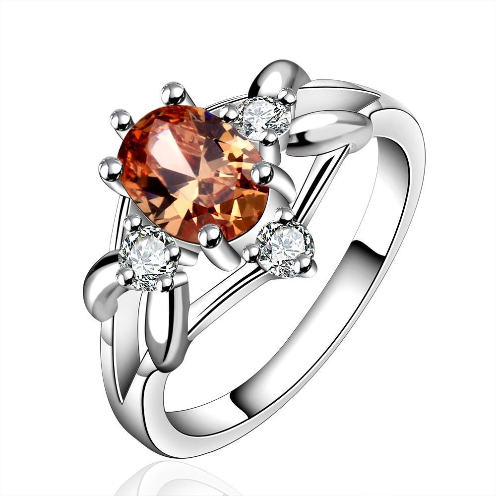 Vienna Jewelry Sterling Silver Orange Citrine Curved Ring Size: 8