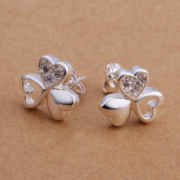 Vienna Jewelry Sterling Silver Trio-Hearts Clover Stud Earring