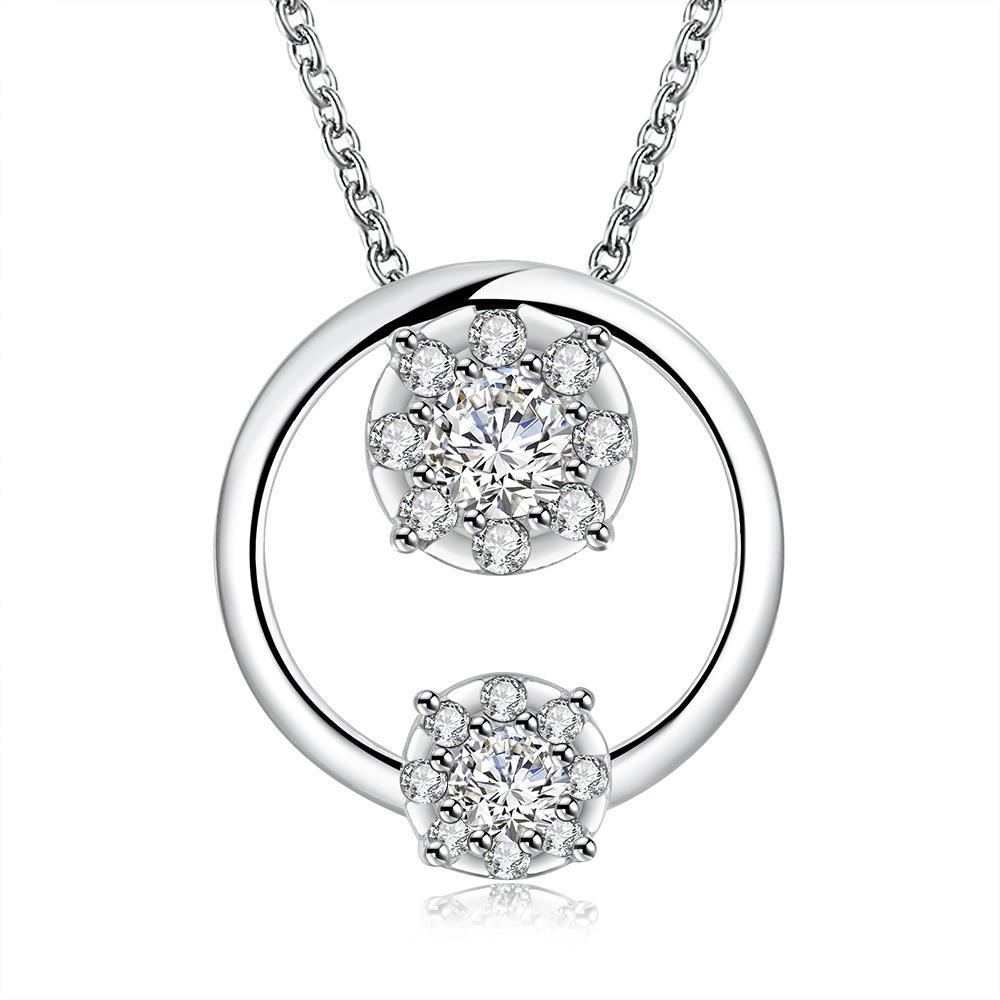 Vienna Jewelry Siler Tone Duo-Crystal Circular Pendant Necklace