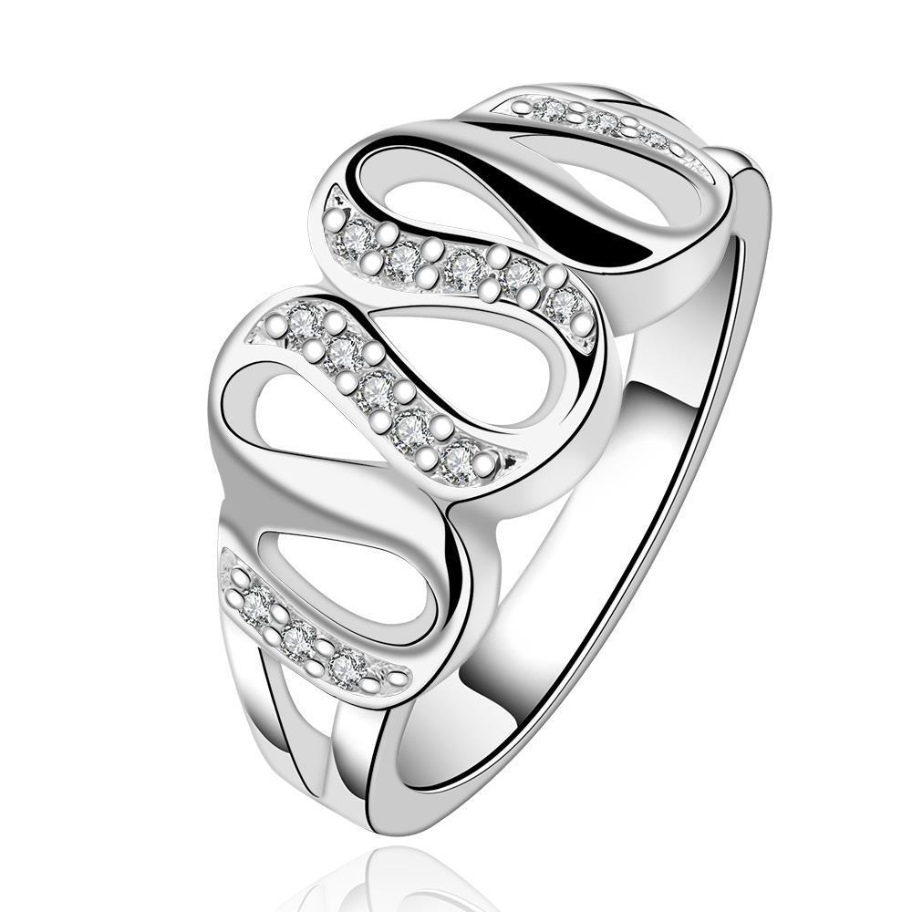Vienna Jewelry Sterling Silver Multi-Swirl Jewels Insert Petite Ring Size: 7