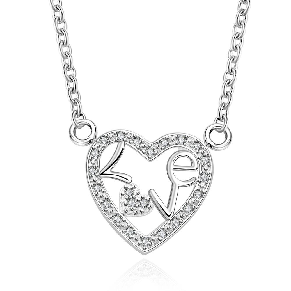 Vienna Jewelry Sterling Silver Hollow Heart Shaped Emblem Necklace