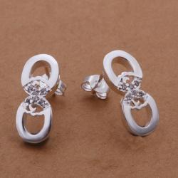Vienna Jewelry Sterling Silver Duo-Hoop Stud Earring - Thumbnail 0